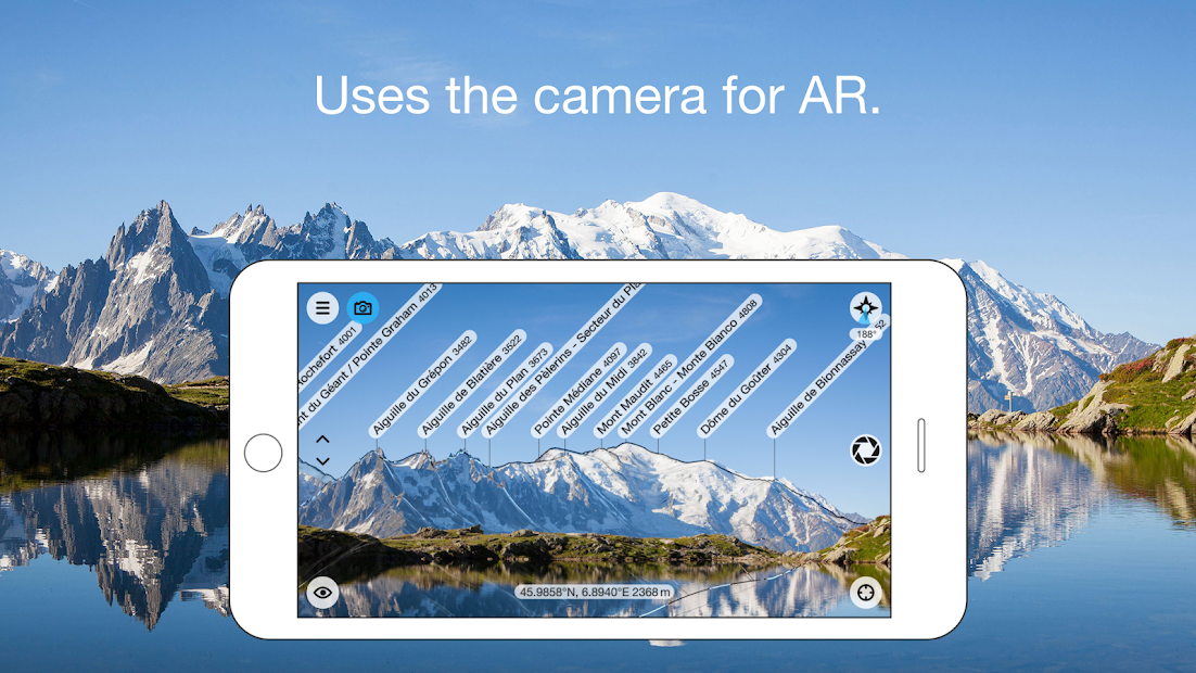 PeakFinder AR Android App Screenshot