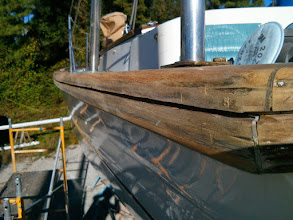 "Photo: failed port aft caprail seam after a couple passes of the circular saw set to 1/4"" depth"