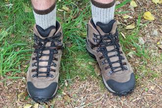 Photo: Sam R has new boots for Glacier to break in!