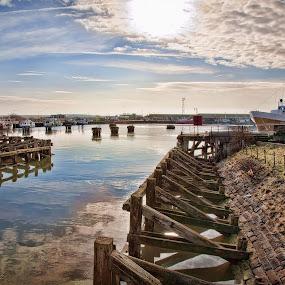 Fleetwood docks by Peter Hearn - Landscapes Waterscapes ( jacinta fleetwood fishing docks boat )