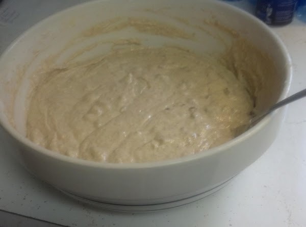 Mix in flours and baking soda until thoroughly blended with banana,egg,sugar mixture.