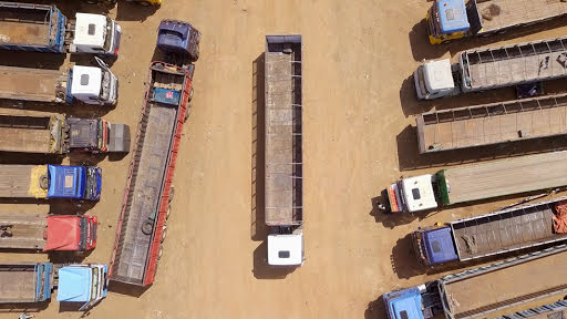 Birds eye view of a truck yard in Accra