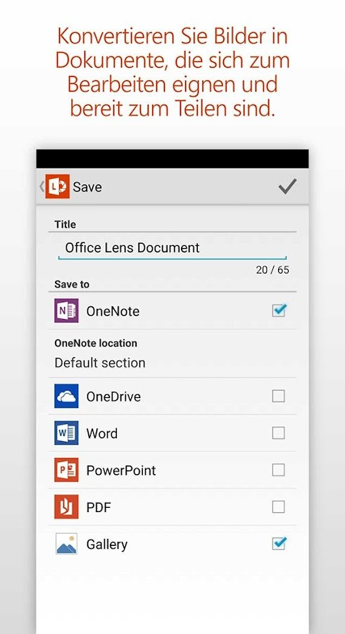 Office Lens – Screenshot
