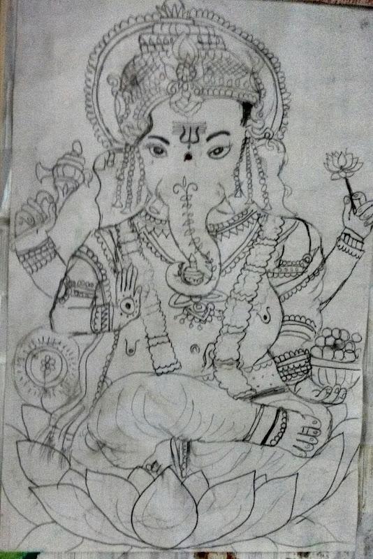 Pencil Drawing Vinayagar Plowns