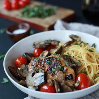 Easy Chicken Marsala with Blistered Tomatoes.