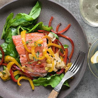 Roasted Salmon with Red Pepper Sauté