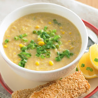 Sweet Corn Soup with Sesame Croutons