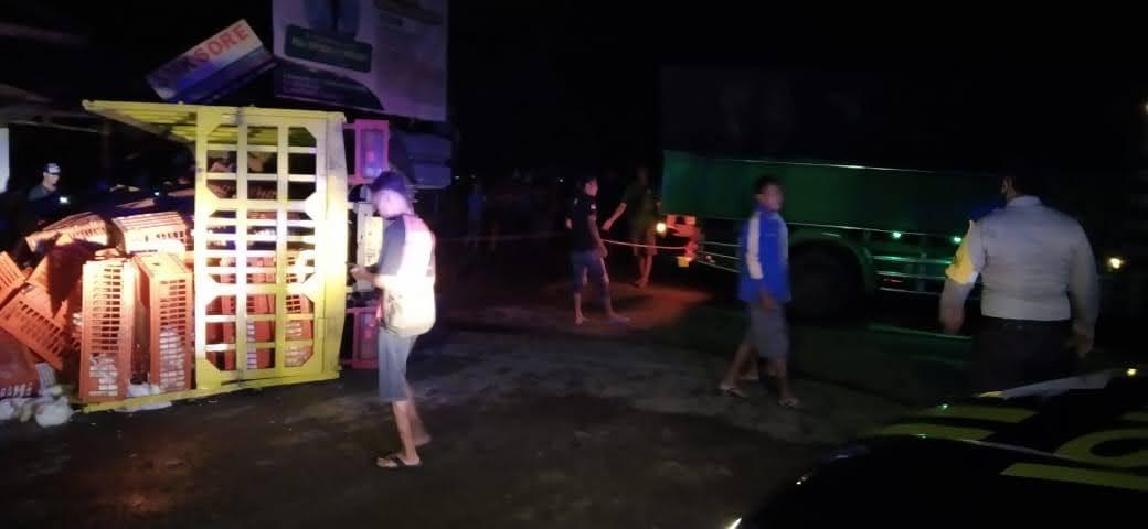 Truck Bermuatan Ayam Potong Terguling Hingga Pengemudinya Tewas di Sambit Ponorogo
