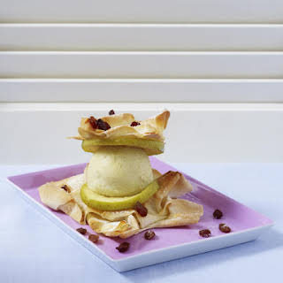 Vanilla Ice Cream with Apple and Filo Pastry.