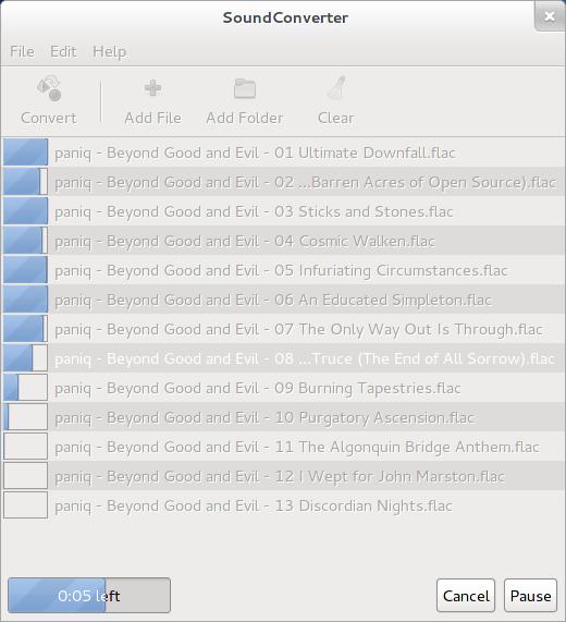 Como convertir audio en Ubuntu y otras distribuciones Linux con SoundConverter. Multitarea.