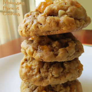 Oatmeal Molasses Cookies with Apricots.