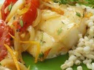 Roasted Cod Fish, Tomatoes, Orange & Onions Recipe