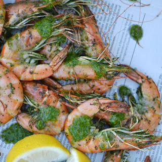Grilled Chimichurri Whole Shrimp – #FishFridayFoodies