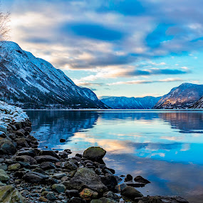 Aurland fjords by Patrick Janson - Landscapes Mountains & Hills ( clouds, reflection, winter, mountain, snow, norway, fjord )