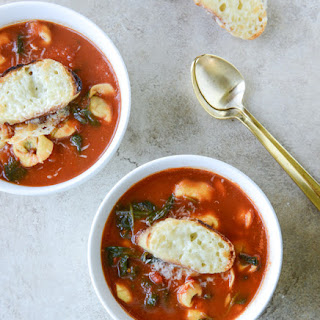 White Bean Tortellini Soup with Broiled Havarti Toasts.