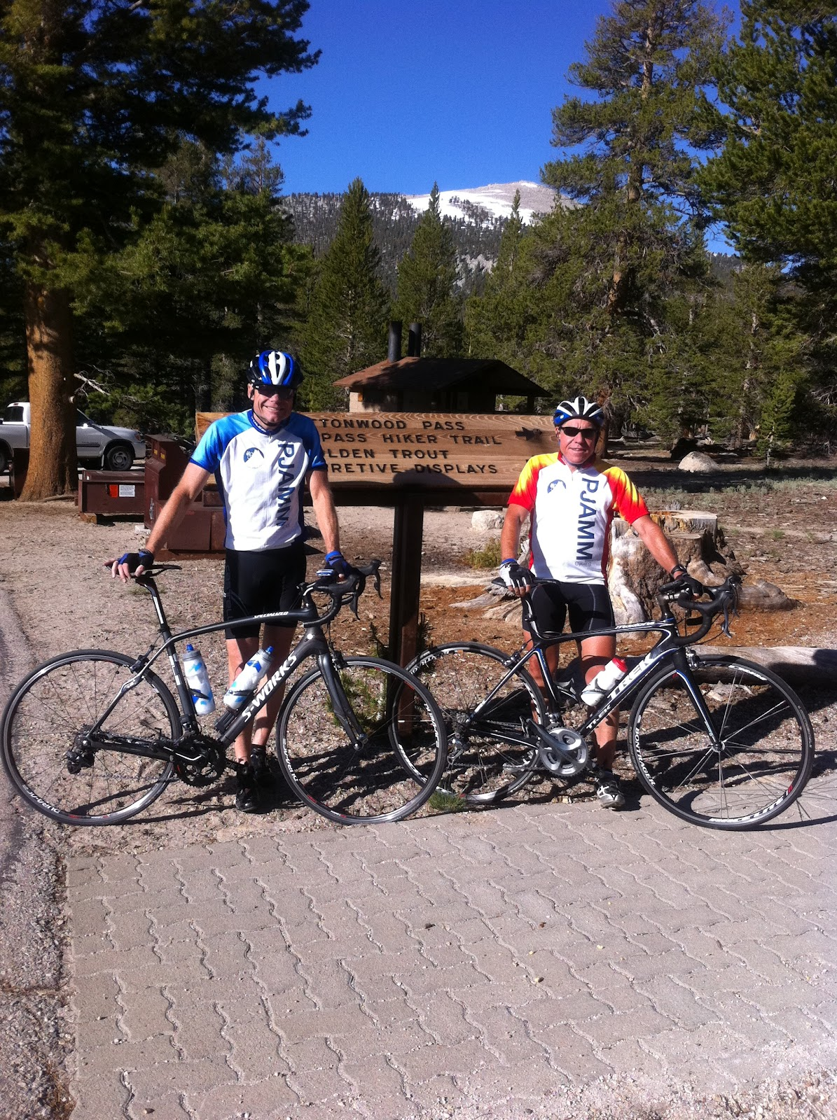 Cyclists at top of Horseshoe Meadows Road after riding Horseshoe, Onion Valley Road, White Mountain and Whitney Portal Roads in a day.