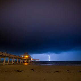 Lightning over Fort Myers Beach, Florida by Jay Kleinrichert - Landscapes Weather ( sand, fort myers, pwcfoulweather, ocean, beach, storm, jkthree, lightning, gulf, weather, pier, night, slow shutter )