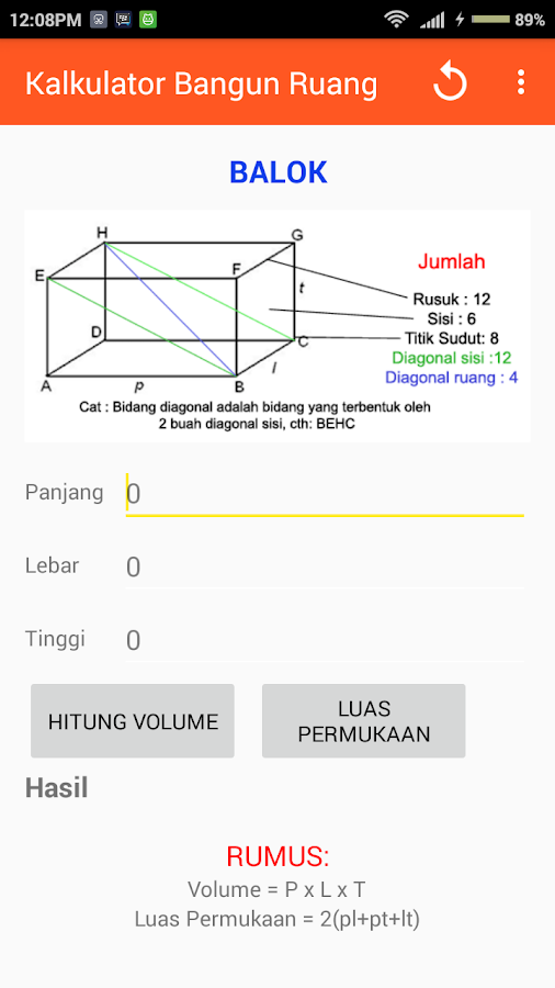 Kalkulator Rumus Bangun Ruang- screenshot