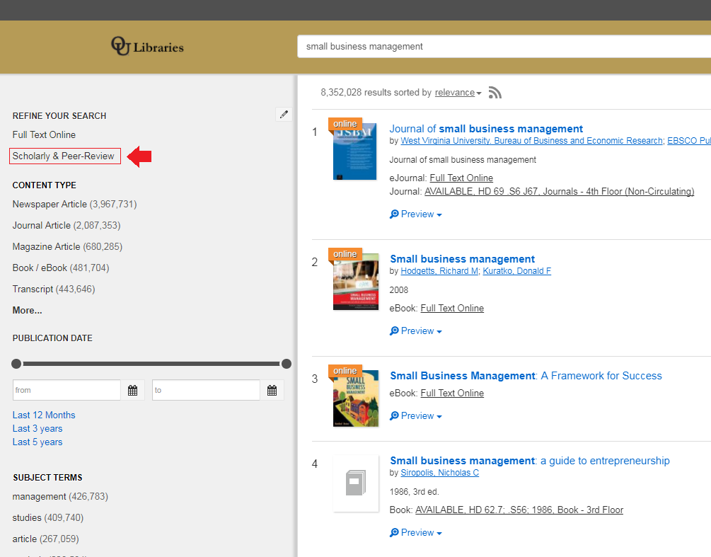 Library OneSearch results with scholarly and peer review filter highlighted