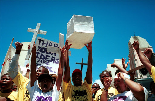 Hundreds of demonstrators against the Aids policies of the South African government march to Parliament November 26, 2001 in Cape Town, South Africa.