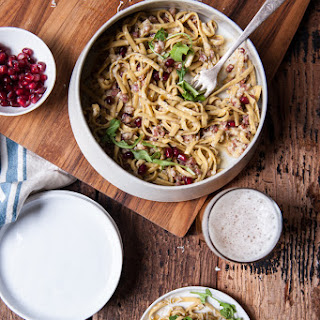 Drunk Pasta Carbonara with Pomegranates