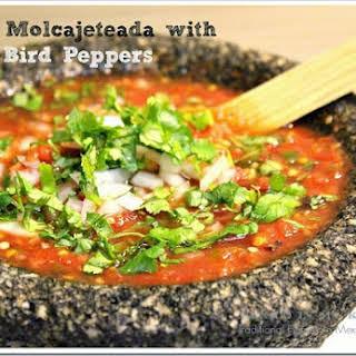 Salsa Molcajeteada with Bird Peppers.
