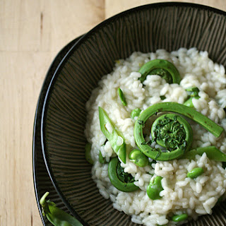 Risotto with Fiddleheads, Favas and Snow Peas
