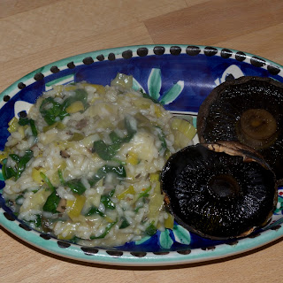 Oven Roasted Portobellos with Leek and Truffle Risotto