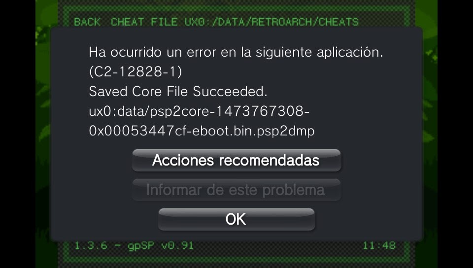 retroarch error cht