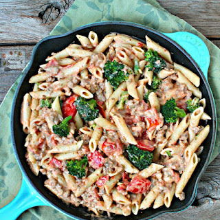 Italian Sausage and Broccoli Alfredo Pasta.