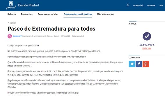 ¿Quieres que el Paseo de Extremadura sea de verdad un paseo? Si lo votas, se hará