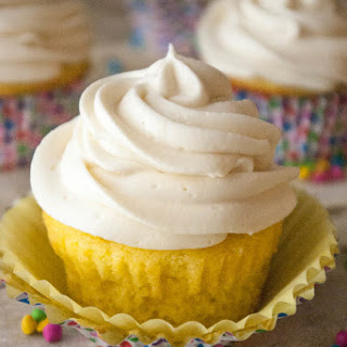 Whipped Cream Cheese Frosting on Lemon Cupcakes.