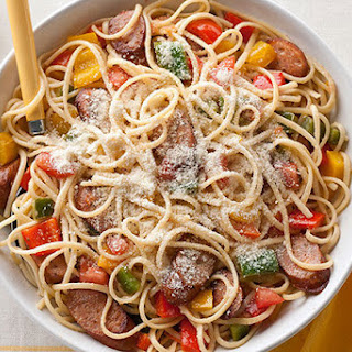 Chicken Sausage, Peppers & Tomatoes with Linguine