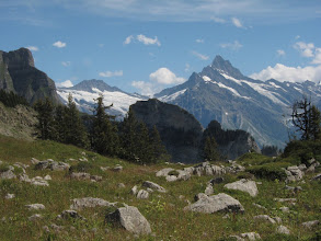 Photo: The Wetterhorn (12,432 ft.) with its huge glacier, and the Schreckhorn (13,379 ft.) ...