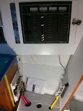 Photo: Primary DC+ fuse block and DC- Bus located below the new electrical panel at Nav Station.