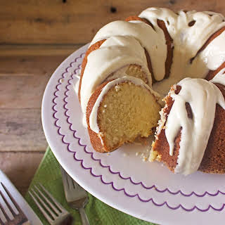 Simple Butter Pound Cake with Cream Cheese Glaze.