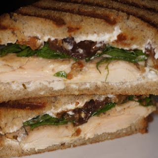 Quickstep's Panini – Rosemary, Thyme Sous Vide Chicken on Rye Bread with Cream Cheese, Garden Fresh Arugula and Peach Chutney