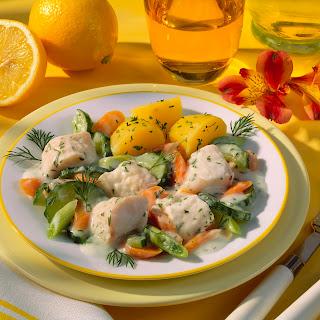 Fischragout mit Dill und Petersilienkartoffeln