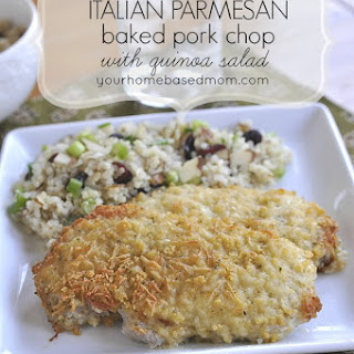 Italian Parmesan Baked Pork Chops with Quinoa Salad.