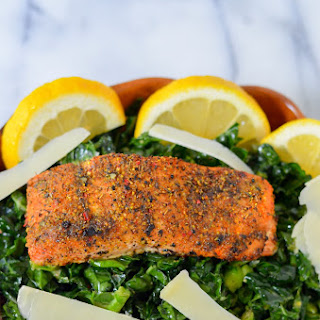 Kale Caesar Salad W. Lemon Pink Peppercorn Salmon Recipe