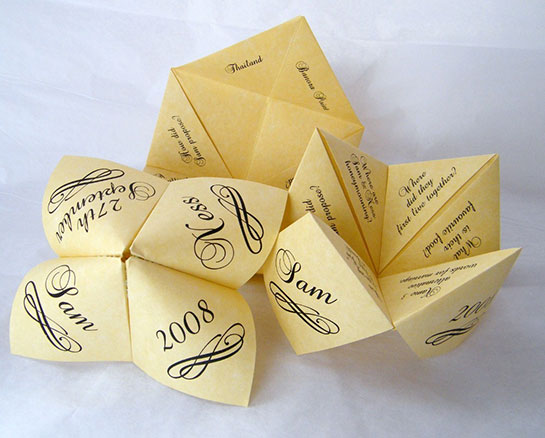 Origami Wedding Invitation: Free Wedding Projects: Origami Fortune Teller
