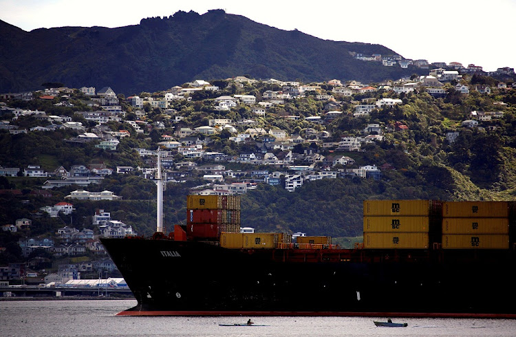 Houses can be seen on the hillside behind a rower and motor-boat as they pass a container ship as it sails into Oriental Bay in the New Zealand capital city of Wellington, New Zealand, September 17, 2011. REUTERS/ DAVID GRAY