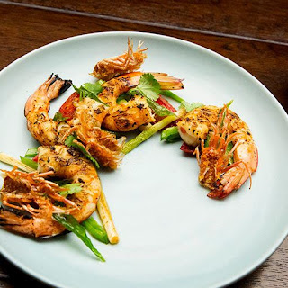 Charred Prawns with Broth.