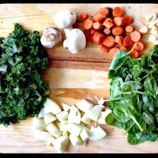 Tofu Mushroom Vegetable Soup with Garlic Miso Broth.