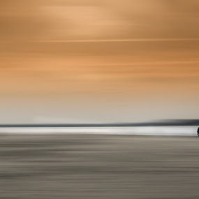 You, me...and the world by Dominic Schroeyers - Digital Art People ( water, sand, walking, romantic, horizon, beach, romance, people, together, love, two, 2, sky, color, couple, walk )