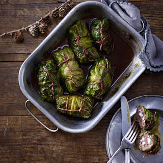 Meat and Feta Stuffed Cabbage.