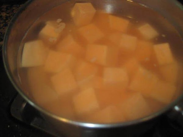 In medium size sauce pan add cubed sweet potatoes, a generous amount of salt...