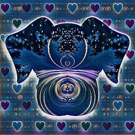 Celestial Dog Love by Gia Gee - Digital Art Animals ( dog love, celestial dog love, love a dog, virtual dog love, dog )