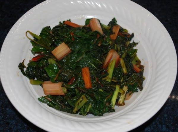 Pan Wilted Kale And Rainbow Swiss Chard Recipe