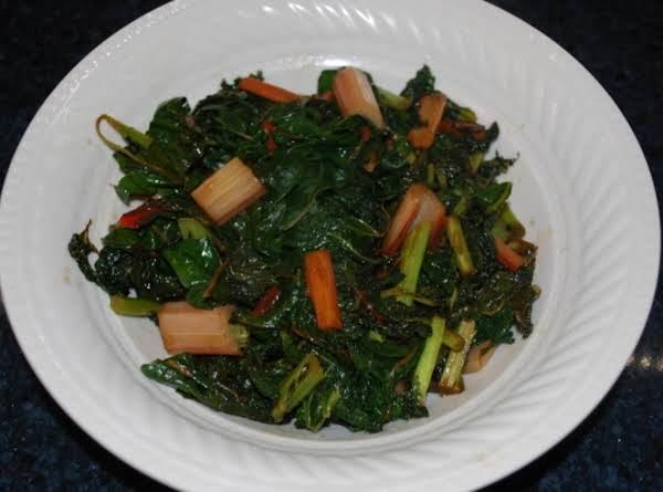 Pan Wilted Kale And Rainbow Swiss Chard